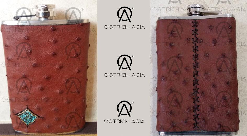 Genuine Ostrich Leather Flask